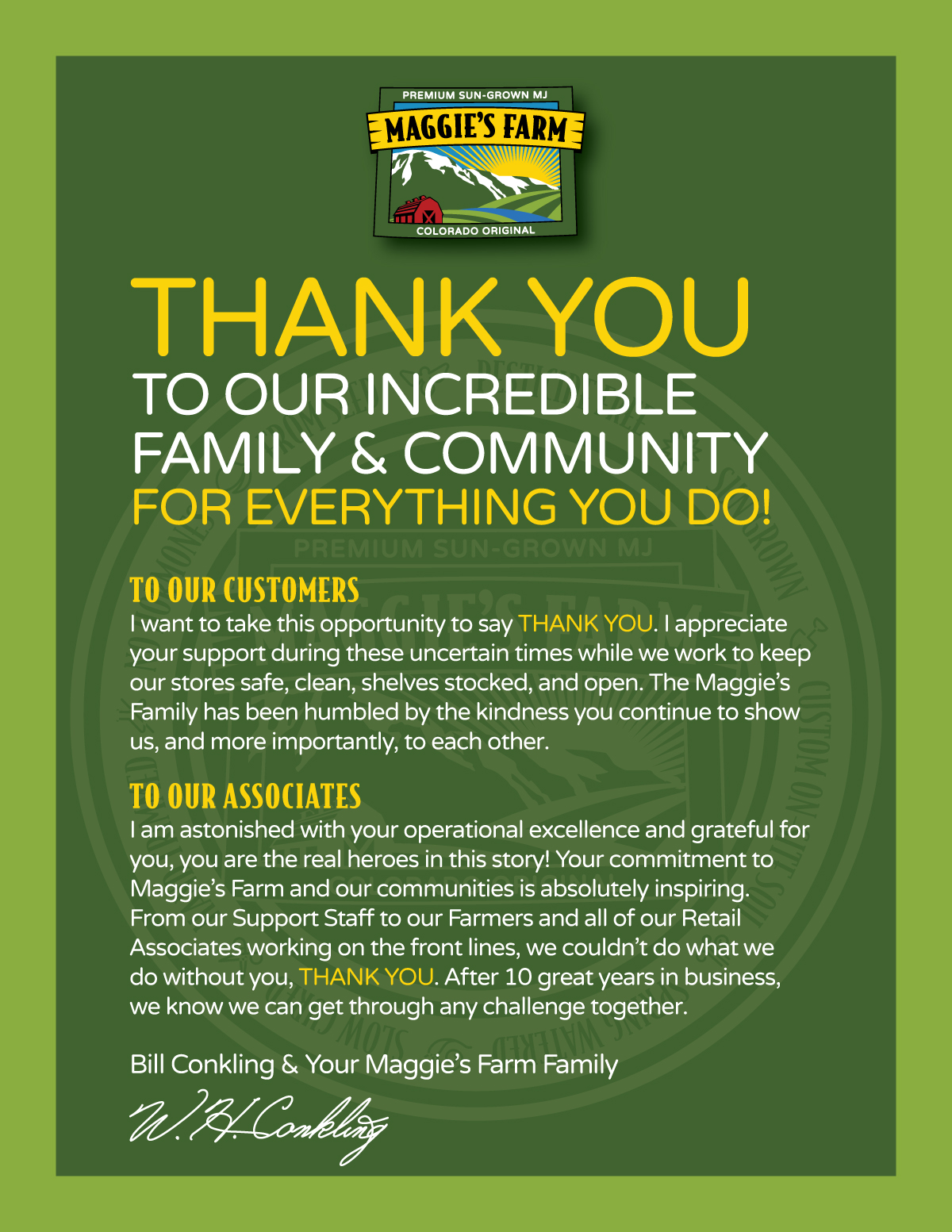 Thank You From Bill Conkling and the Maggie's Farm Family